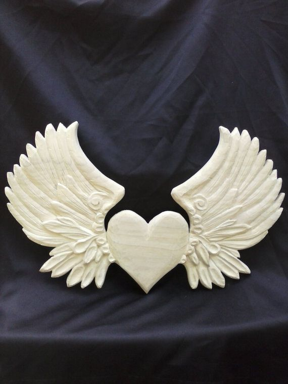 Made to Order - Hand Carved Wood Heart with Wings Decorative Furniture Applique, Bare Wood Ornamental Furniture Carving, Wall Hanging