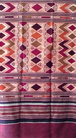 Laotian Silk and Cotton Textile, Laos Weaving, Cloth, Fabric