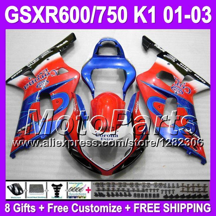 Красный синий blk + капот для SUZUKI GSXR600 GSXR-600 K1 красный корона GSXR 600 GSX-R600 T34138 GSX R600 01 02 03 2001 2002 2003 зализа