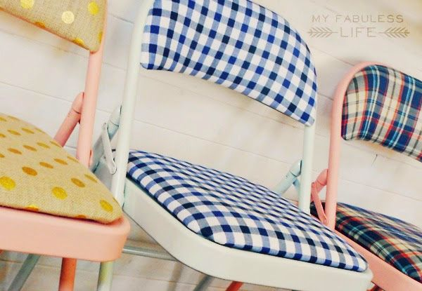 I love the idea of covering these with Laminated Cotton!! Whipperberry: Drab to Fab Folding Chairs
