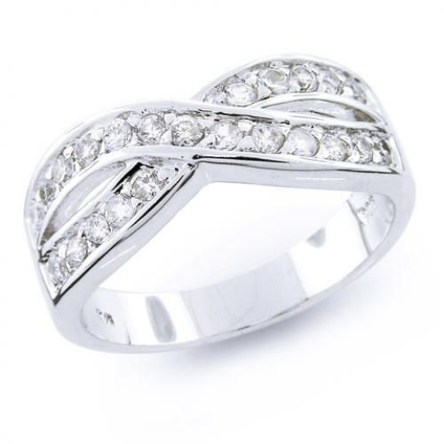 Sterling Silver Diamond Cz Pave Crossed Band Le Circle Ring