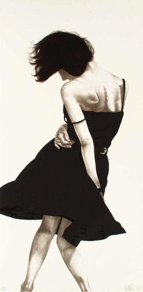 robert longo, lithograph, woman in black dress swaying