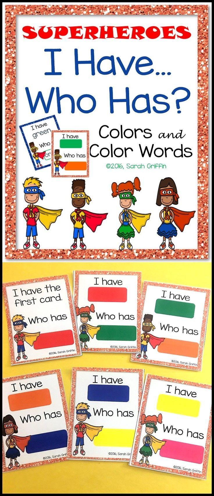 Primary color games for preschoolers - I Have Who Has Color Game Color Matching Preschool Prek Kindergarten