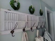 Coat rack made from an old shutter