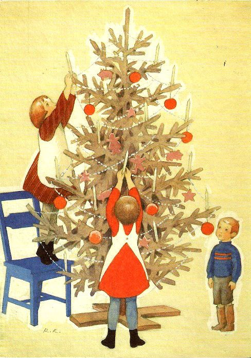 God Jul: Rudolf Koivu, Finnish artist... Decorating the Christmas Tree.