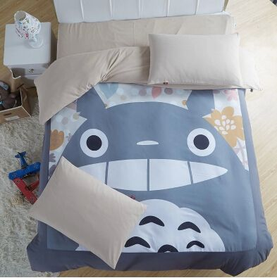 Cute Totoro Bed Sets Comforter Sets Grey Duvet Covers Quilted Bedspreads Queen/Full/Twin size Bed linen free shipping