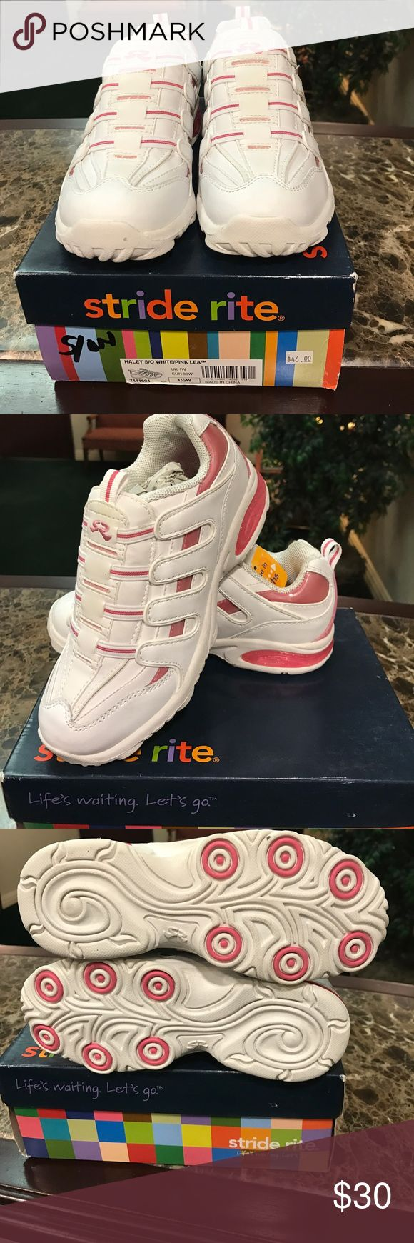 Girls Stride Rite white & pink sneakers brand new Haley Stride Rite Girls slip on white/pink leather sneakers - brand new with box size 1.5W Stride Rite Shoes Sneakers