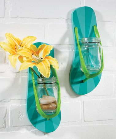 Look what I found on #zulily! Flip-Flop Wall Vase - Set of Two #zulilyfinds