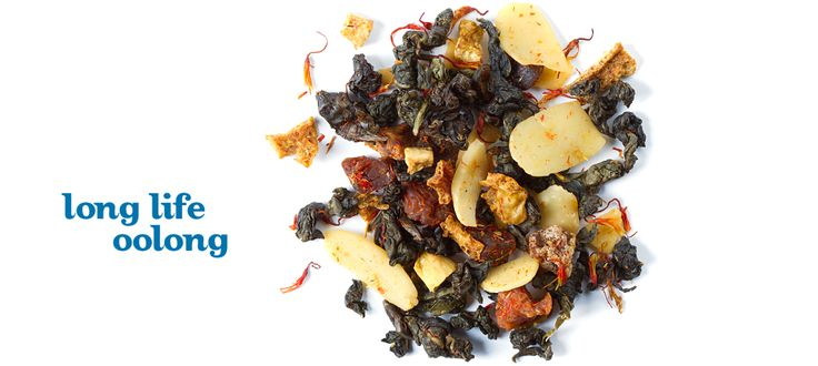 Long Life Oolong  - Organic Shui Xian oolong tea, peach pieces, apricot pieces, almond slices, orange peel, safflower petals, natural and artificial flavouring
