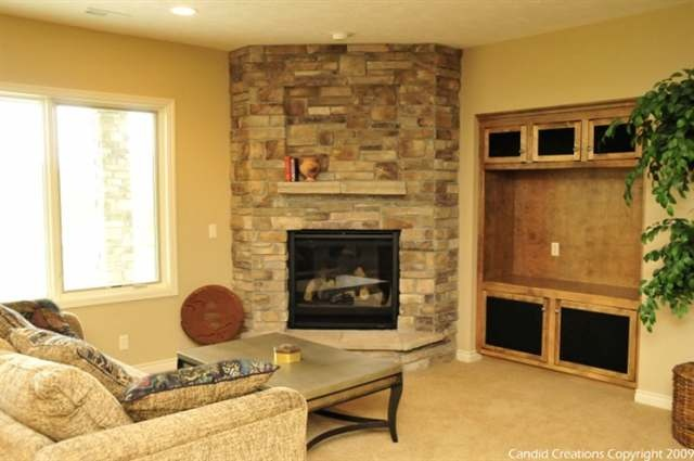 Decosee Stone Corner Fireplace