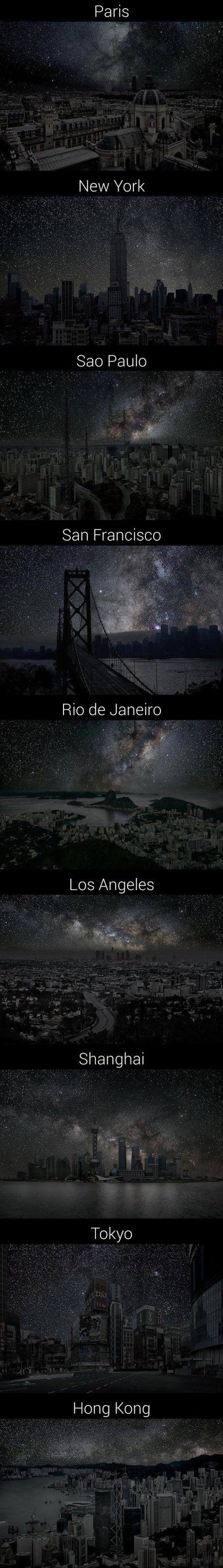 Der Blick auf Großstädte, wenn es keine Lichtverschmutzung gäbe