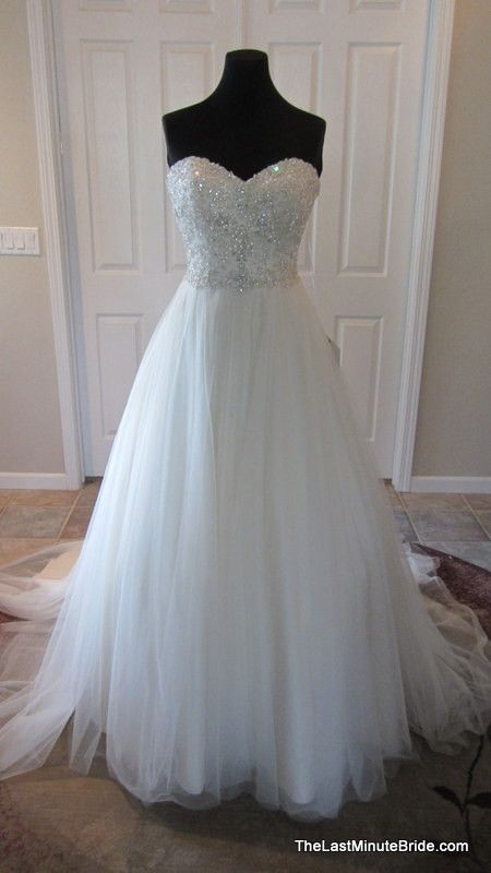 Essense of Australia D1629 from The Last Minute Bride Designer: Essense of Australia  Style: D1629  Silhouette: Ball Gown  Neckline: Sweetheart (Strapless)  Waistline: Natural Waist  Sleeve Style: Strapless  Dress Length: Floor Length
