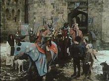 Cast of The Black Adder in Alnwick Castle's Inner Bailey