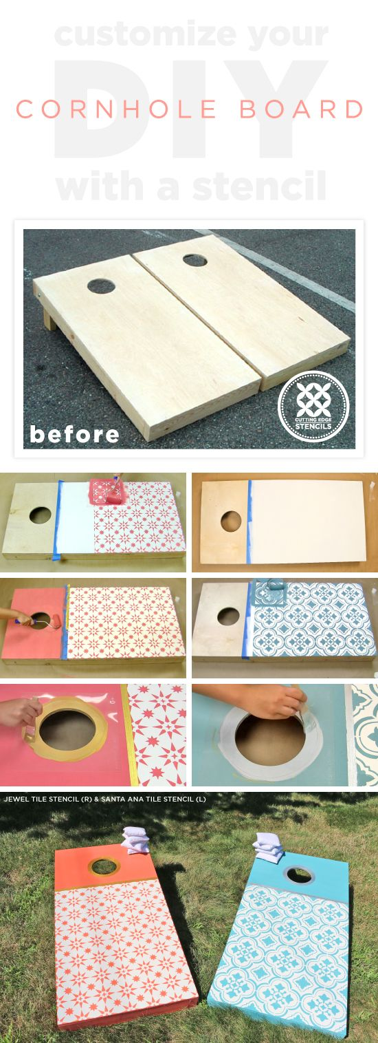 Cutting Edge Stencils shares a how to customize DIY wooden cornhole boards with tile stencil patterns.     http://www.cuttingedgestencils.com/tile-stencils-cement-tile-stencil-designs-floor-tiles.html