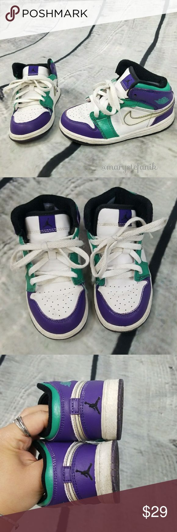 {Toddler Girl's} Nike Air Jordan I Retro TD 8.5C {Toddler Girl's} Nike Air Jordan I Retro TD 322680-301 size 8.5C in good used condition. Some creases and marks from use. Rare sneakers from 2008!  Please let me know if you have any questions. Happy Poshing! Nike Shoes Sneakers