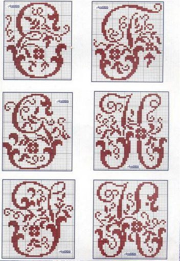cross stitch alphabet E F G H J K