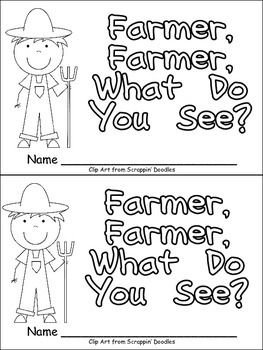 """This emergent reader little book will help young students practice early reading skills, while learning about the farm!!  This story uses a predictable pattern, """"Farmer, farmer, what do you see?"""" to support emerging readers. The following farm vocabulary words are included: farmer, tractor, cow, horse, pig, sheep, and barn."""