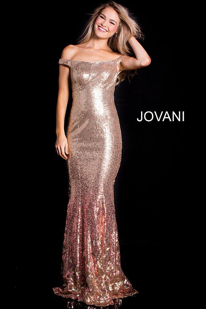 775c431c540 Rose Gold Off the Shoulder Sequin Prom Dress 60503