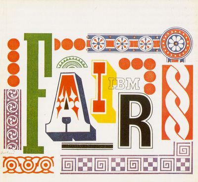 """Paul Rand. Brochure. IBM Pavilion, New York World's Fair 1964/19654 – """"In one sense montage and collage are integrated visual arrangements in space, and another sense, absorbing visual test which the spectator me perceive and decipher for himself. He may thus participate directly in the creative process."""" #whiteandprimary"""