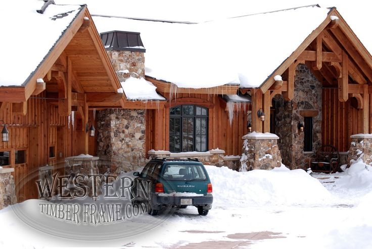 Timber Framing And Exterior On Home Custom Stonework And