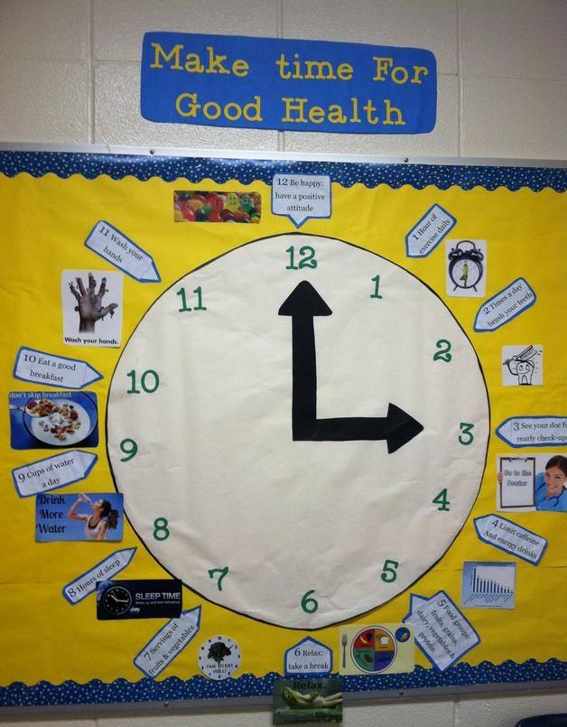 Make Time For Good Health: Bulletin Board.  I saw a naked bulletin board in the nurses office and I just had to cover it.