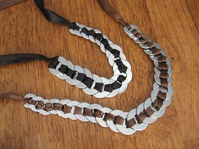 When you think about shopping for jewelry, The Home Depot probably isn't the first place you would think to shop. But, that's exactly where the supplies were purchased for this necklace, made from ribbon and hardware!