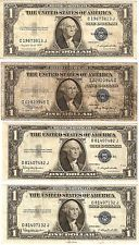 Four (4) Series 1935 A-G & H $1 Silver Certificates
