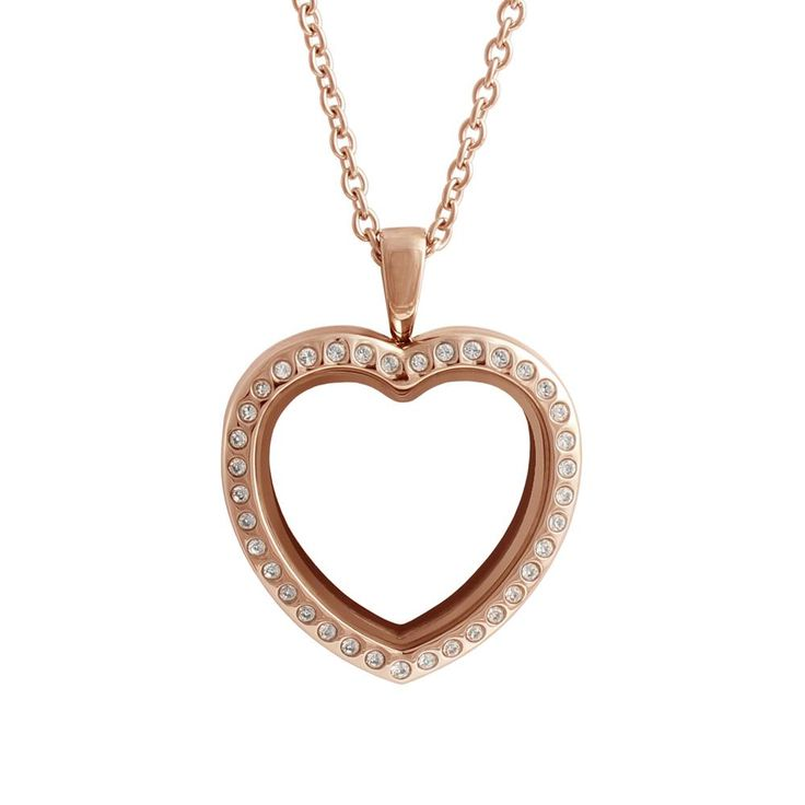 Rose Gold Tone Crystal Heart Locket Fall in love with our Rose Gold Heart Locket with crystals! This heart-shaped locket surrounded by delicate Swarovski crystals is sure to get your heart fluttering.