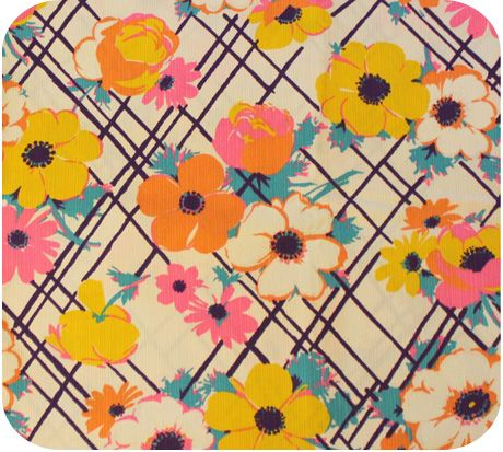 Vintage Fabric 1960's Bright White with Flowers