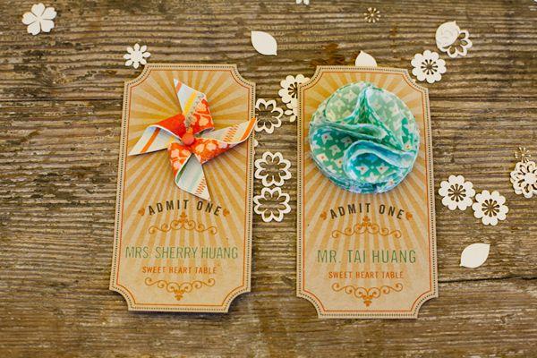 carnival wedding seating cards // photo by AlfredandEmma.com