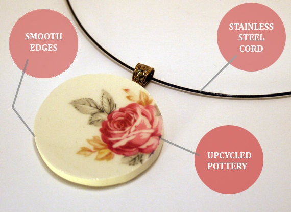 Free Shipping Upcycled flower pottery necklace by Appellation, $10.00