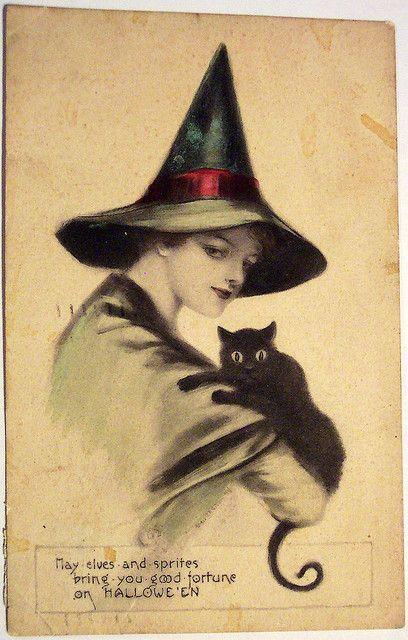 Great Halloween Idea Witchs Shadow O Vintage Witch Postcard Postcards