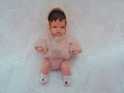 Vintage SHACKMAN German BABY GIRL Doll People Dollhouse Miniature Rubber Jointed