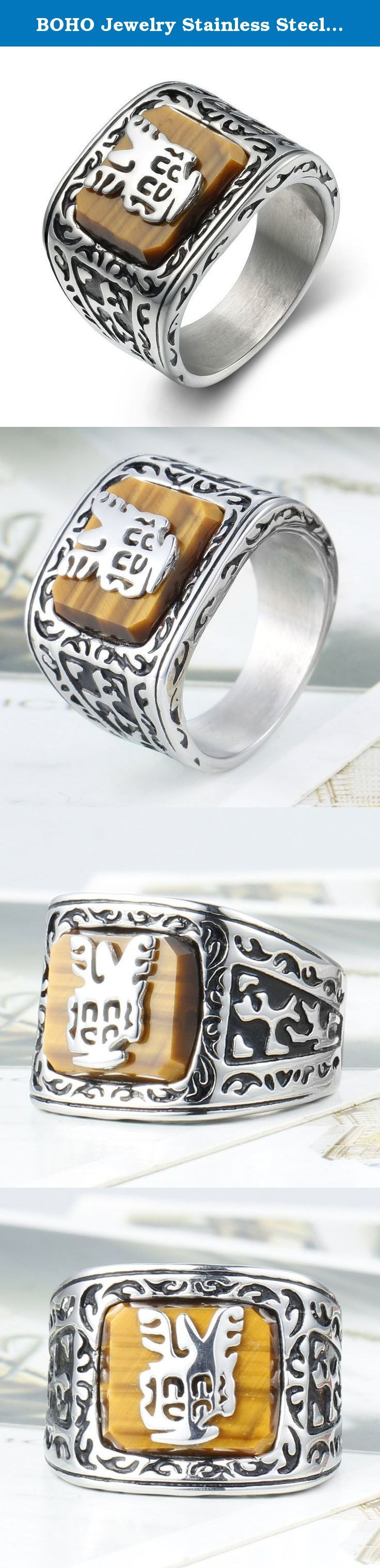 BOHO Jewelry Stainless Steel Vintage Mens Ring Tiger-Eye Gemstone Inlaid Black Silver (10). Why choose BOHO JEWELRY? BOHO JEWELRY is an enterprise that mainly produces and sales fashion jewelry ,with many years experience. Why choose Stainless Steel Jewelry? Stainless Steel jewelry does not tarnish and oxidize, which can last longer than other jewelries. It is able to endure a lot of wear and tear. And it is amazingly hypoallergenic. Such advantages make it a more popular accessory. Why…