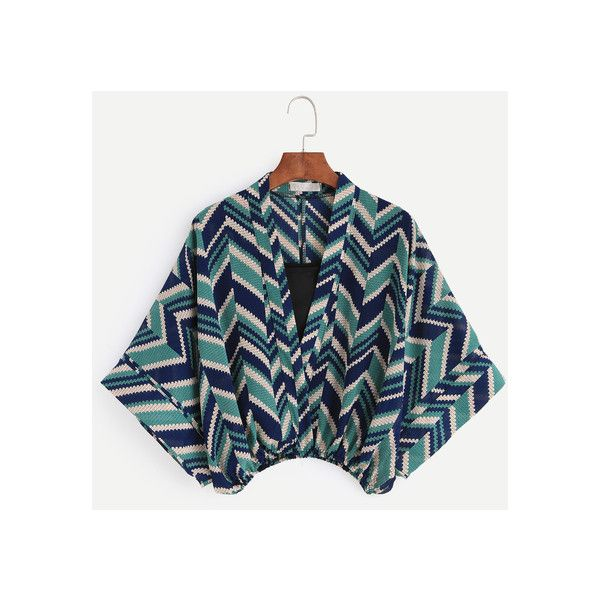 Multicolor Chevron Print Kimono Style Blouse With Cami Top (55 RON) ❤ liked on Polyvore featuring tops, blouses, camisole blouse, multicolor blouse, chevron blouses, chevron print tops and chevron tops