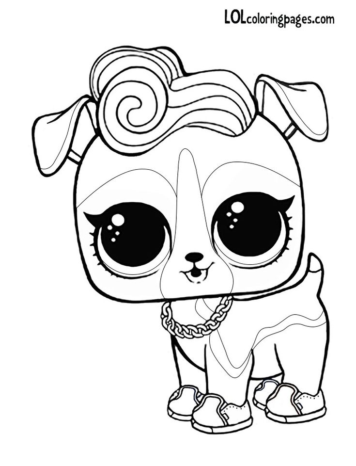 Lol doll coloring pages pets ~ DJ K9 LOL Surprise doll pet coloring page | Coloring pages ...