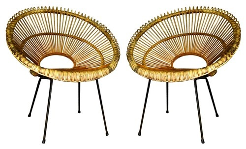 Franco Albini, Pair of Wicker Rattan and Iron Hoop Chairs