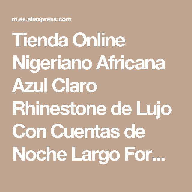 Tienda Online Nigeriano Africana Azul Claro Rhinestone de Lujo Con Cuentas de Noche Largo Formal Vestido de Fiesta de Hendidura Sexy Kaftan Marroquí Sirena Formal | Aliexpress móvil