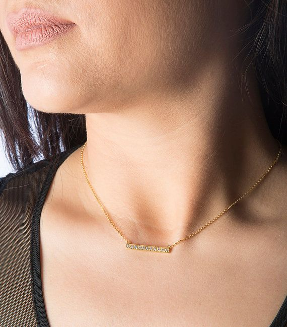 Silver bar necklace Straigth bar necklace Small by elegantjewelbox