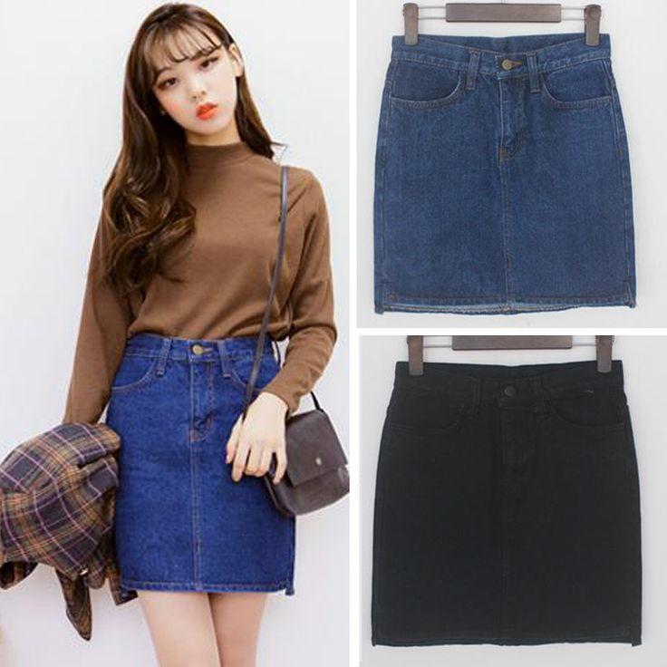 harajuku casual skirts 2016 korean women skirt spring summer style retrohigh waist jeans skirt college wind skirts womens