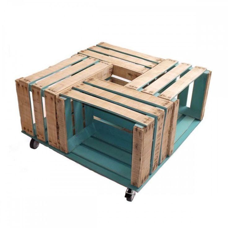 Mesa de centro de sal n con cajas de fruta recicladas - Mesas hechas con cajas de madera ...