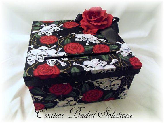 Skull and Roses Halloween Wedding Money Gift Card Holder Box