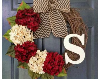 Winter Wreath Grapevine Wreath with Monogram by WhisperingWelcome