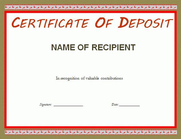 Certificate of Deposit Template