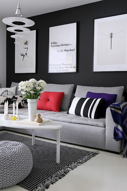 These #contemporary #posters with minimal #framing look great! Love the wall color!