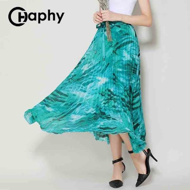 Seaside Ankle-length Pleated Chiffon Maxi Skirt