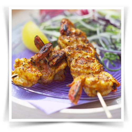 These BBQ shrimp are spiced up with 2 tbsp of Patak's Madras Curry paste, and a couple of tbsp of yogurt.