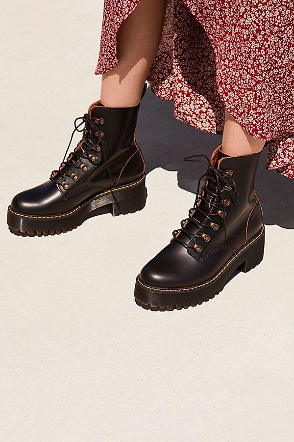 9ebfbdccaab Black Leather Combat Boots Women - Dr. Martens Leona Platform Black Ankle  Boot - Classic Dr. Martens combat boots featuring a statement platform  rubber heel ...
