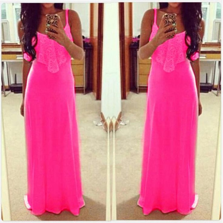 2016 Zomer Mode Vrouwen Fluorescentie Kleur Spaghetti Lace Jurk Patchwork Hollow Vest Maxi Jurken strand vestidos