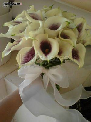 http://www.lemienozze.it/gallerie/foto-bouquet-sposa/img43038.html Originale bouquet di calle bianche dal cuore viola e fiocco in organza.